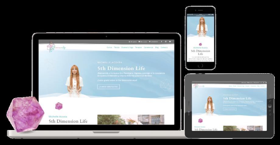 Diseño responsive, página web 5th dimension life