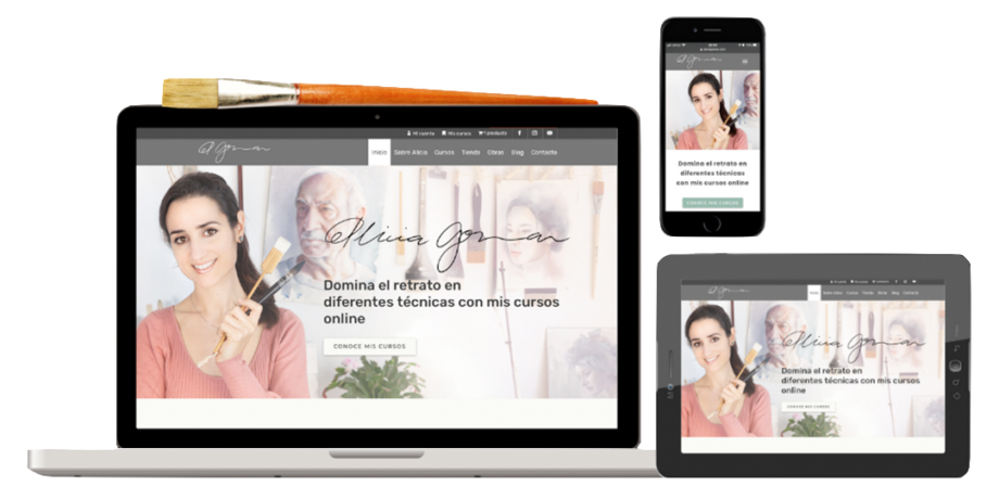diseño responsive, página web Alicia Gomar